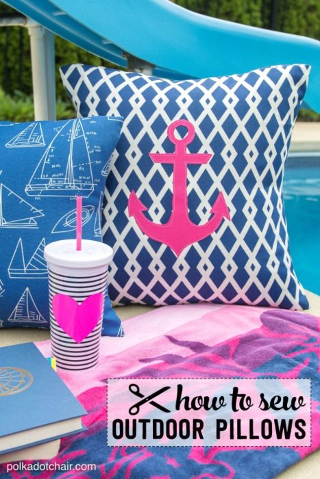 How to sew Outdoor Pillows - tutorial by Melissa of Polkadot Chair