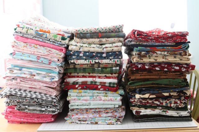 Stack of Flannel Blankets for Charity