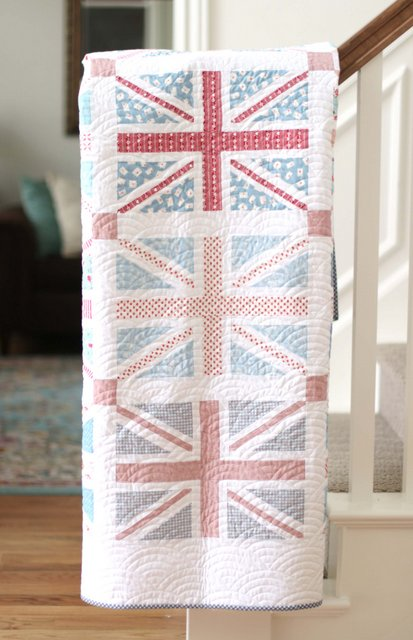 Faded Low Volume Union Jack quilt pattern design by Amy Smart