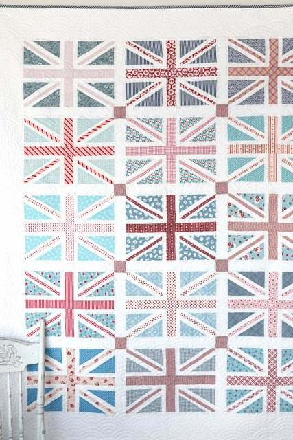 Fresh red, white, and blue, washed-out Union Jack Quilt pattern by Diary of a Quilter
