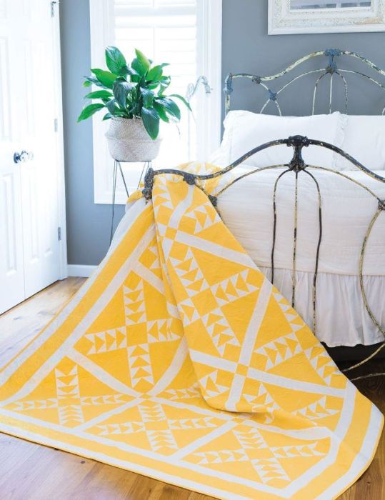 Season to Taste Flying Geese Quilt classic quilt design in yellow and white