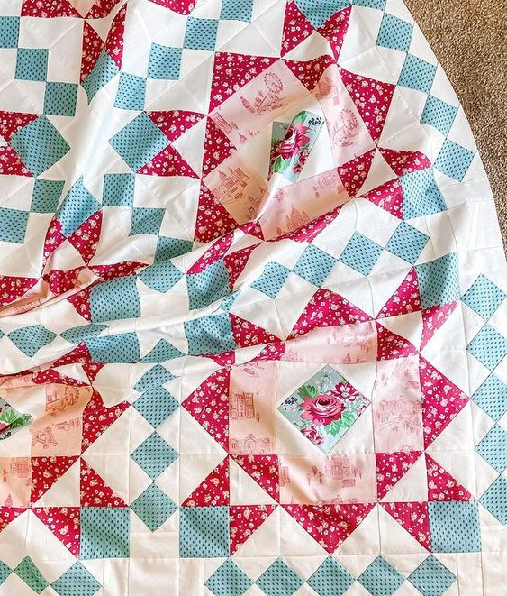 Quilt pattern by Hello Melly Designs featuring Notting Hill fabric