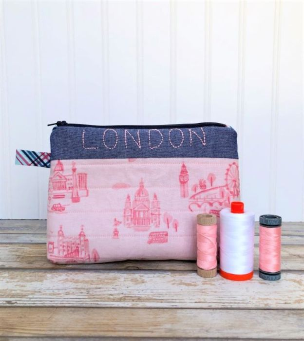 London pouch tutorial featuring Riley Blake fabric
