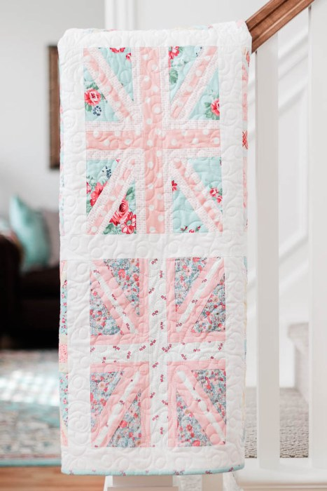 Pink and Blue Union Jack baby quilt