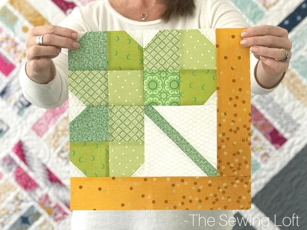 Lucky Shamrock quilt block by the Sewing Loft