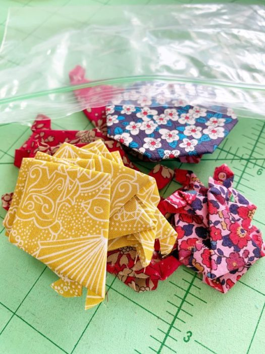 Organizing pre-basted pieces for English Paper Piecing