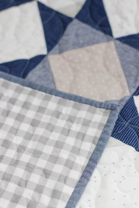 Gray and White gingham flannel quilt back