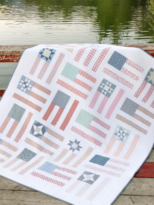 Red, White, and Blue US flag quilt pattern by Amy Smart - low volume, faded colors