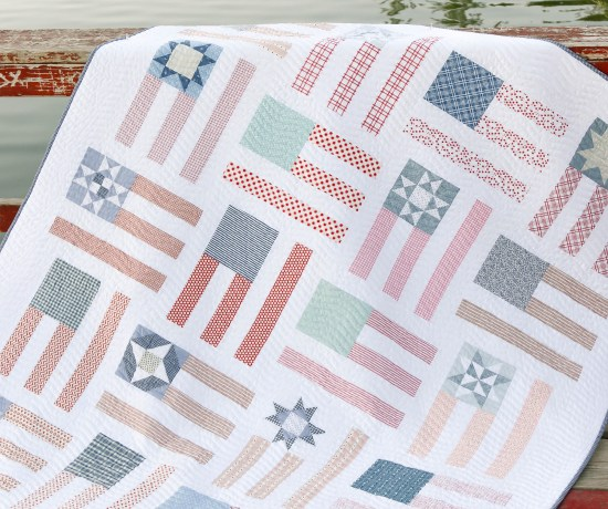 Red, White, and Blue US flag quilt pattern
