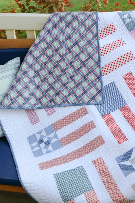 Red, White, and Blue plaid quilt back