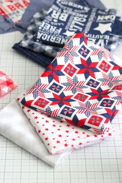 Red white and Blue Patchwork fabric from Riley Blake Designs