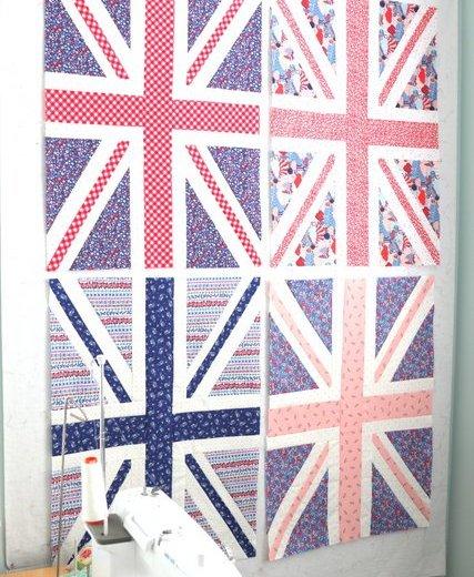 Giant Union JJack Quilt blocks using Liberty of London