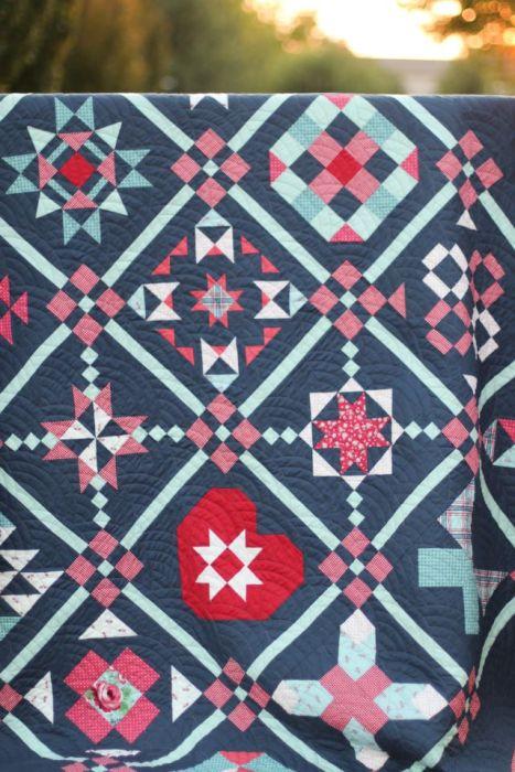 Red White and Blue Sampler Quilt