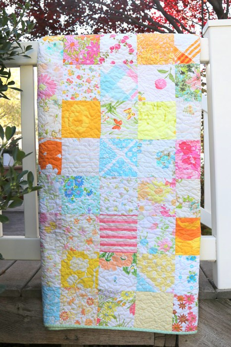 Patchwork quilt made from vintage sheets and linens