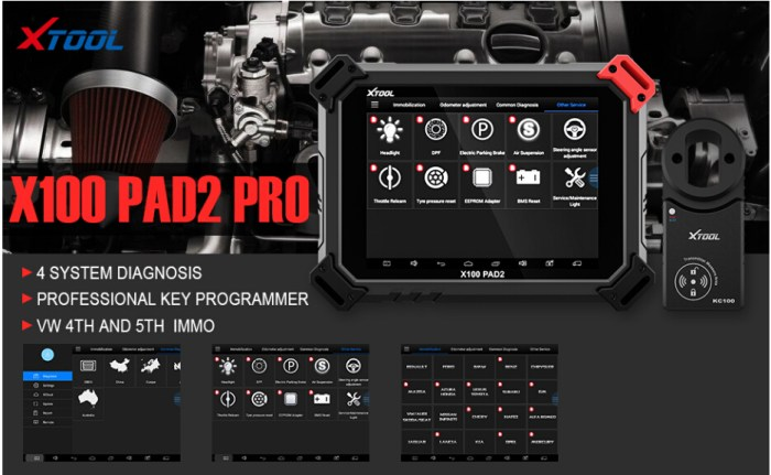 XTOOL X100 PAD2 Pro with KC100 Key Programmer full Configuration Support VW 4th & 5th