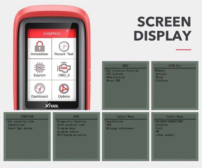 XTOOL X100 PRO2 SCREEN DISPLAY