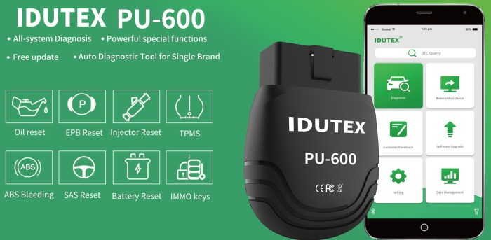 IDUTEX PU600 Full System Diagnostic Tool For Single Brand Vehicles