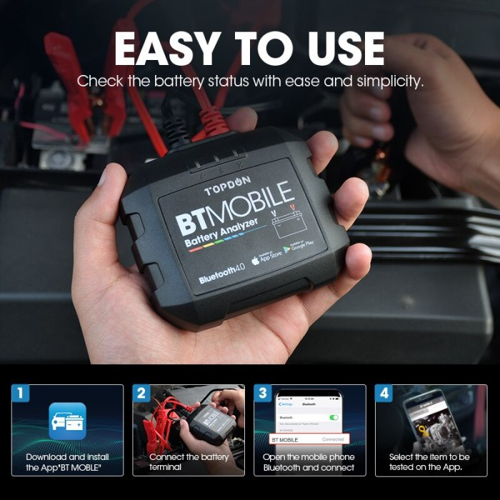 TOPDON BT Mobile Bluetooth Wireless Automotive 6 to 12V Battery Tester Easy To Use