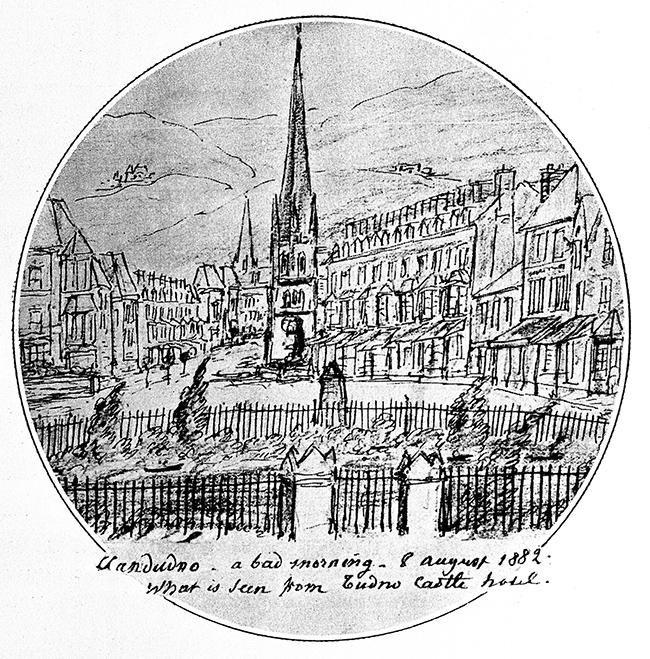 Drawing of Llandudno by Charcot. Image