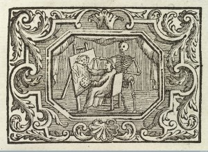 Artist seated at easel, death looks over his shoulder, 1767. Image