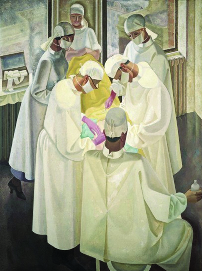 A surgical operation. Oil painting by Reginald Brill, 1934-1935. Image