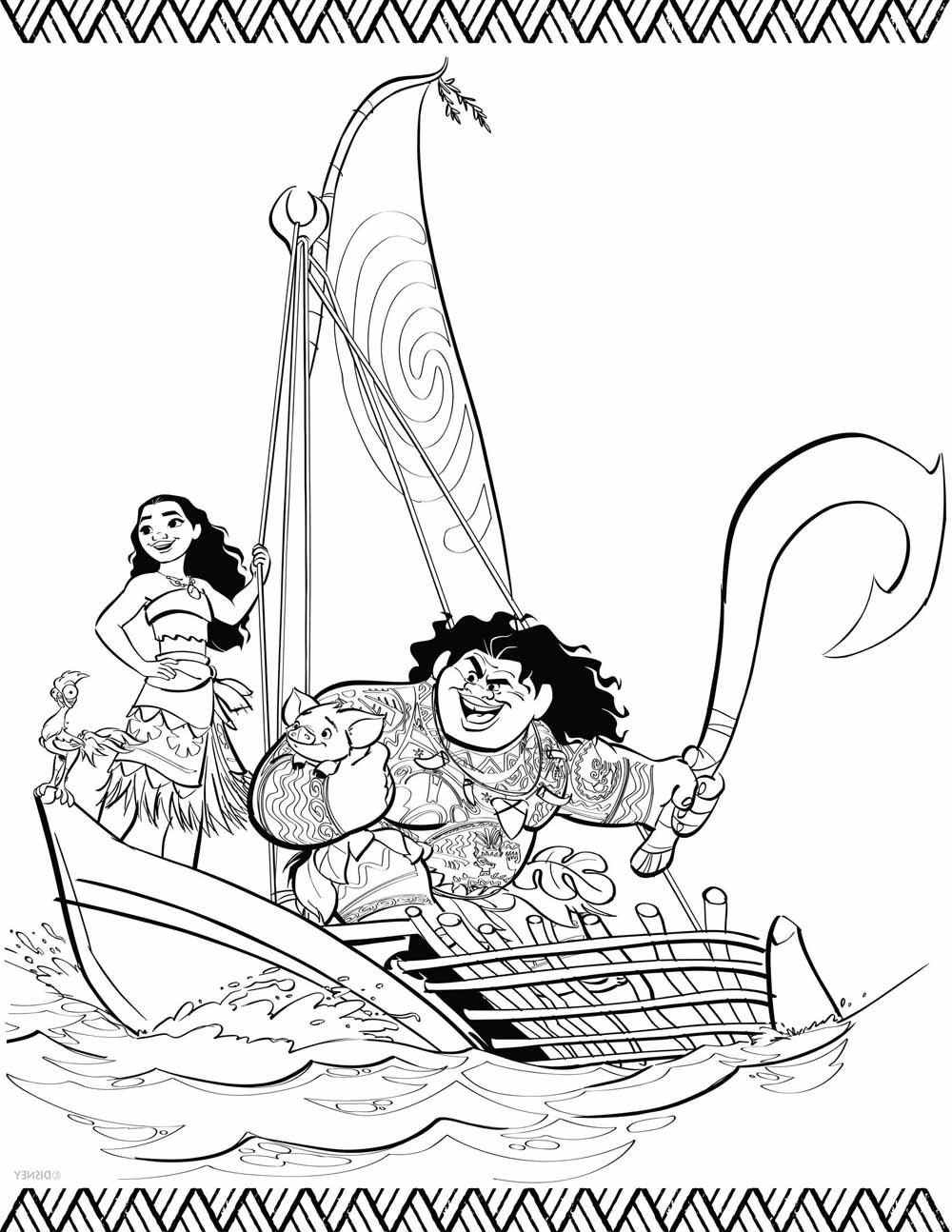Moana Y MAui En Bote Barco Para Iluminar Y Colorear