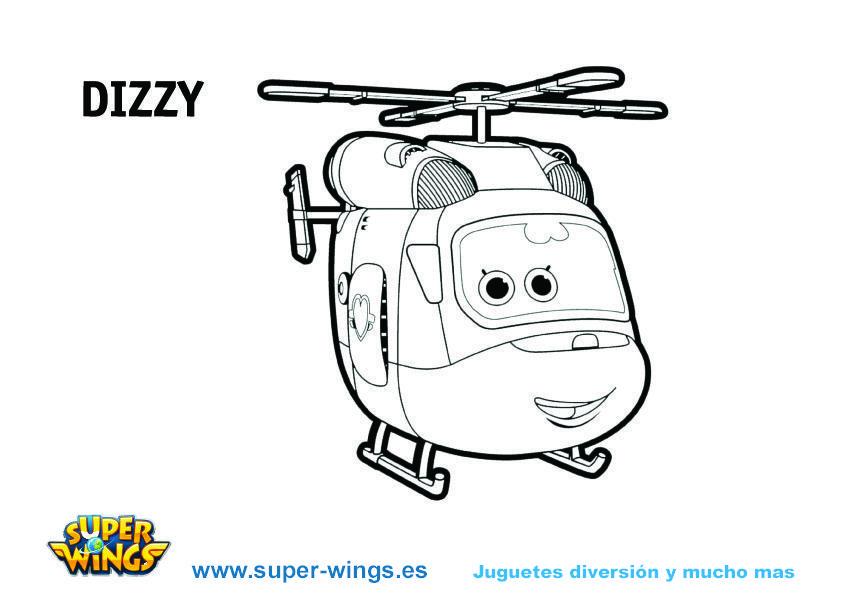 Plantilla colorear Super Wings: Dizzy