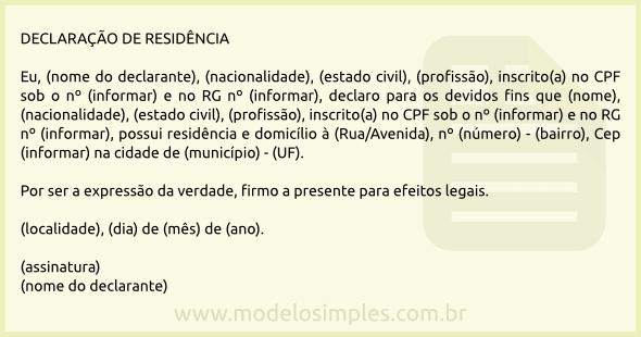 MODELO DECLARAÇÃO DE RESIDÊNCIA PARA ASSOCIAÇÃO DE MORADORES