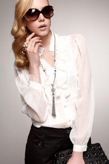 Tendência de Moda de Camisas Femininas com Babado 9 Moda de Camisas Femininas com Babado