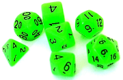 RPG Wuerfel Set Glow-Green
