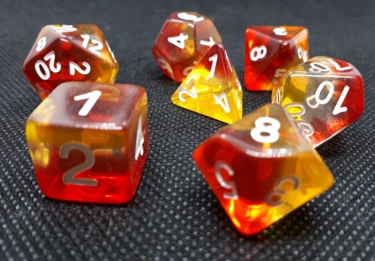 RPG Wuerfel Set Domino Yellow/Red