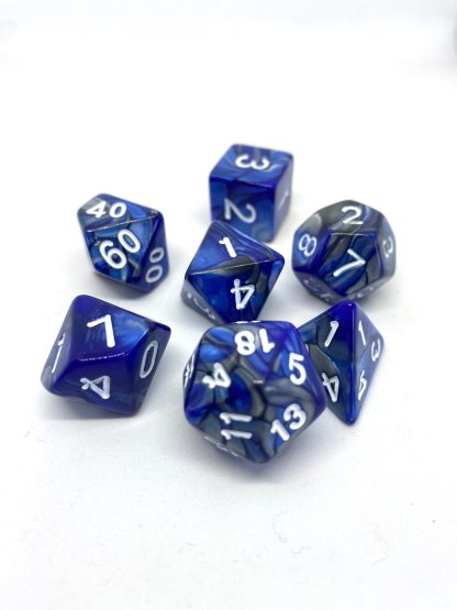 RPG Wuerfel Set Racing Blue/Silver