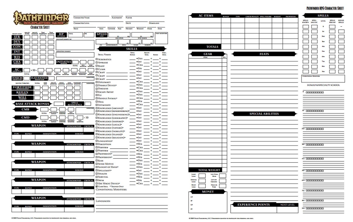 Pathfinder Character Sheet | dicegeeks