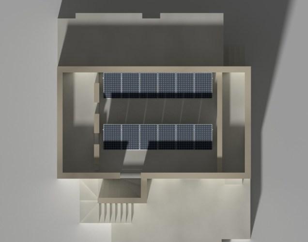 Studio della luce solare incidente su un impianto fotovoltaico, 21-dic h14:00
