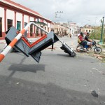 A major traffic signal was blown down by the sustained 110mph winds.