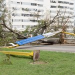 The sign at the main approach to Plaza De La Revolucion traffic circle was ripped down by the high winds.
