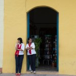 Two guides outside the museum bookstore in Camaguey.