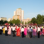 University students mass folk dancing at September 9 National Day Mass Dance Celebrations in front of Pyongyang Indoor Stadium.