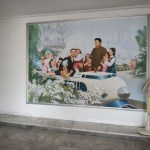 Mural of Kim Il Sung leading the people into the future at June 9th Middle School (The school is named for the date when Kim Il Sung visited the school.)