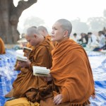 Buddhist monks praying at Mulagandha Kuti Temple, Sarnath, Varanasi