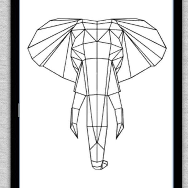 Cuadro personalizado de animales geométricos. ELEFANTE. Elige tamaño ...
