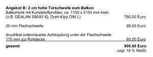 Kostenvergleich Nullschwelle mit 2cm Schwelle von Fensterbauer Klaus Asel vom 01.10.14, Angebot B