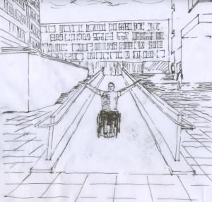 Empowerment in der Architektur für Unfallgeschädigte ist durch eine interdisziplinäre Beratung von Ulrike Jocham der Frau Nullschwelle möglich - die Zeichnung zeigt einen Rollinutzer der mit ausgestreckten Armen eine barrierefreie Rampe hinunterfährt