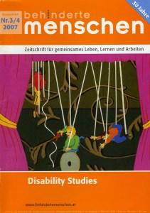 Cover von behinderte menschen Ausgabe 3-4/2007 mit Artikel über das Bielefelder Modell von Ulrike Jocham, die Frau Nullschwelle