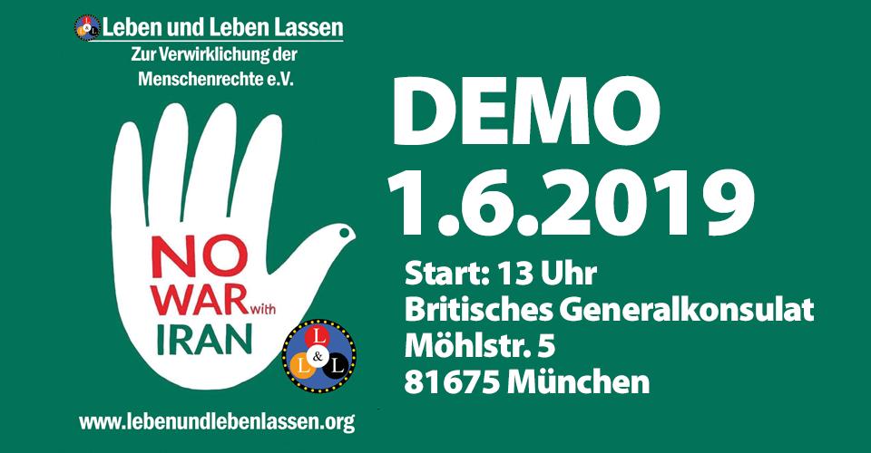 Demo - Kein Krieg mit Iran - No war with Iran - 1.6.2019 - München