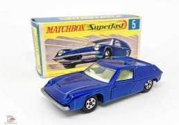 Matchbox Superfast No.5A Lotus Europa - dark metallic blue body, thin 5-spoke wheels - Mint including type G box.