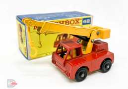 Matchbox Regular Wheels No.42a Iron Fairy Crane - red body, yellow jib with yellow hook, dark yellow interior & base, 4-spoke wide wheels with black axle clips - Excellent plus/Mint in Poor/Good type F3 Regular Wheel box.
