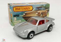 "Matchbox Superfast No.3c Porsche 911 Turbo - metallic silver body, clear windows, red interior, graphite grey base, dot-dash wheels - Mint in Near Mint ""New"" type K box."