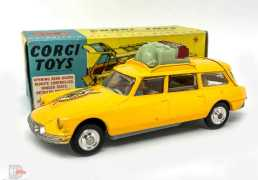 """Corgi No.436 Citroen Safari ID19 """"Wildlife Preservation"""" - yellow body, spun hubs, complete with luggage - Good Plus to Excellent in Good Plus blue and yellow carded picture box."""