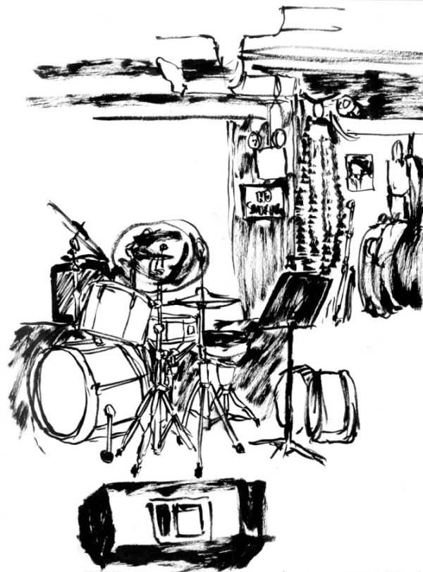 Drawing on location - Fat Cat Jazz Club
